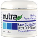 Nutra Face, Skin & Joint Ultra Relief Cream is an all-natural, high-quality hypoallergenic moisturizer and fast-acting solution. Rich with the calming scents of lavender and chamomile, thirsty skin quickly absorbs this special blend of fresh, plant-based ingredients and leaves faces, hands and legs soft, dewy and rejuvenated.